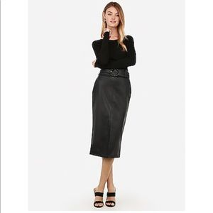 Vegan Leather High Waisted Belted Midi Skirt